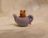 Little Mouse in a Teapot - Handmade FIMO polymer clay miniature figure