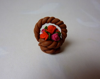 Small Red and Pink Flower Basket - Gift for Her Birthday Mothers Day Get Well Decoration Dollshouse Handmade polymer clay