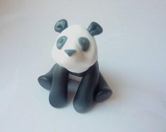 Panda - bear desk buddy totem shelf decoration Handmade polymer clay