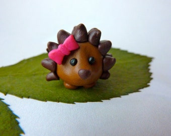 Hedgehog with Pink Bow- Handmade FIMO