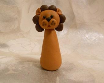 Lion - totem desk buddy jungle circus cake topper decoration Handmade FIMO