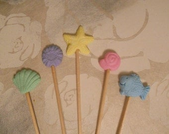 Seaside Theme Pastel Cake Toppers - beach summer holiday vacation