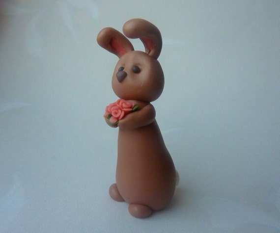 Bunny - Rabbit Handmade polymer clay figure - Mothers day Gift or Easter Cake Topper Decoration