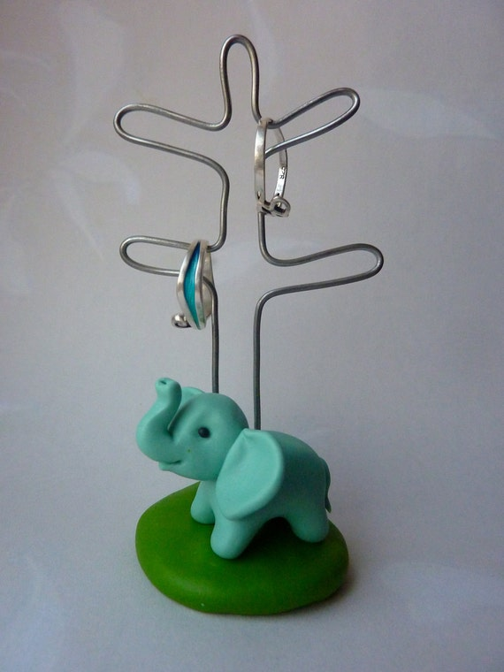 Elephant Jewellery Holder - lucky cute animal wedding ring earring tree decoration for the home dressing table Handmade