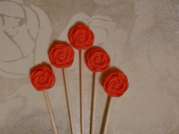 Red Rose Cupcake Toppers- Cake Decorating Picks Romantic