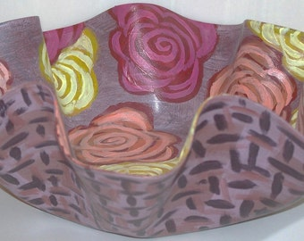 Painted Flower Basket Yellow Orange Red Brown Abstract Melted Record Decorative Potpourri Dish Home Decor Vinyl Art Gift