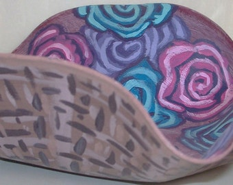 Painted Record Abstract Flower Basket Blue Pink Purple Brown Melted Recycled Home Decor Art Floral Decorative Dish