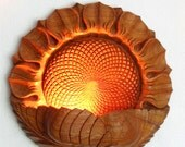 To be ordered: Wood carving, Wall hanging - night lamp Sunflower, room decor, lighting, floral motiff