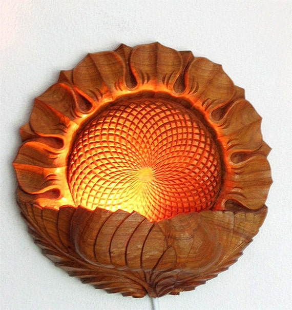 ONLY NOW 10% OFF To be ordered: Wood carving, Wall hanging - night lamp Sunflower, room decor, lighting, floral motiff