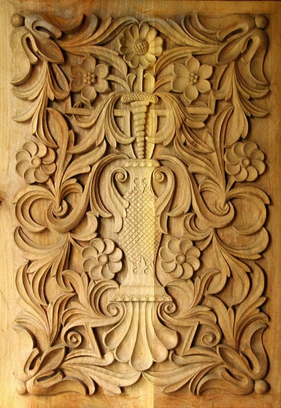 Wood carving traditional bulgarian art rectangular panel