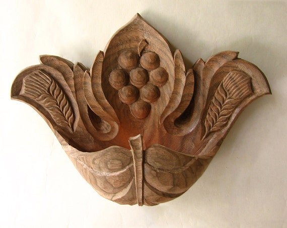 Wall candlestick vine leafooak wood carving hanging