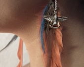 Free Spirit Feather Earrings with Totem Charms