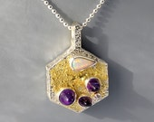 Reserved for Bettina          18K Gold overlay on Fine Silver Amethyst and Precious Opal Pendant.  October and February Birthstones.