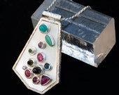 Ruby, Sapphire, Blue Opal, Emerald, Diamond,Chrysophase, Rhodolite Garnet, Pink and Blue Topaz, Mother of Pearl, Sterling Silver Pendant