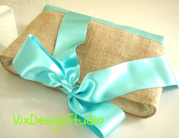 RESERVED FOR LISA. Bridesmaids set of four small burlap clutches with satin ribbon