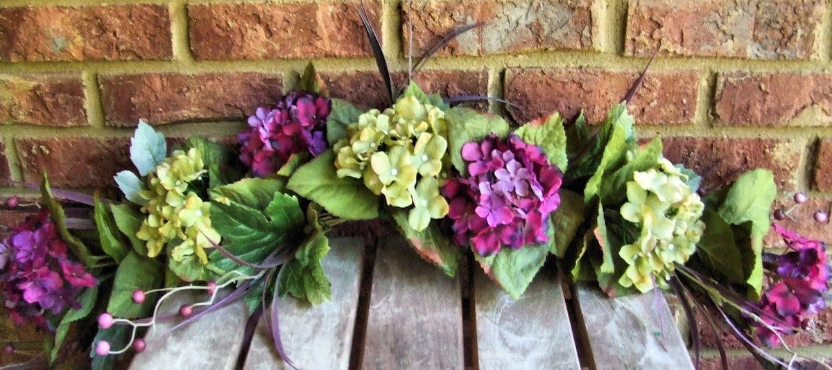 Silk Hydrangea Floral Swag Purple Green 40 inch