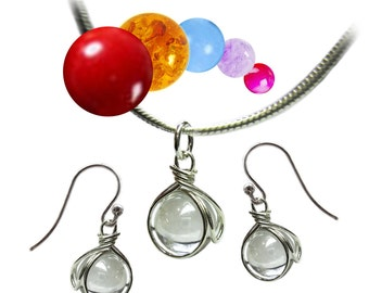 The Pop In Necklace AND Earring Set - Interchangable Stones - 15 Different Colours - Gift Set - Rickson Jewellery