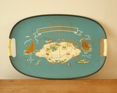 Vintage Nassau Bahamas Map Oval Blue Tray Beach Decor