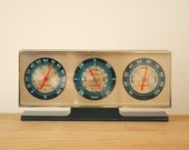 Vintage Barometer Thermometer Desktop Weather Station Retro Neon Hands Gold