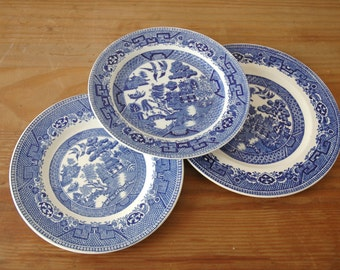 Vintage Blue Willow China Saucer Plates - 3 different patterns