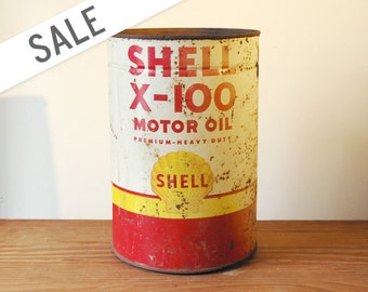 Motor Oil Rustic Shell X-100 Can Vintage 1950s Rusty 5 Quart Empty SALE