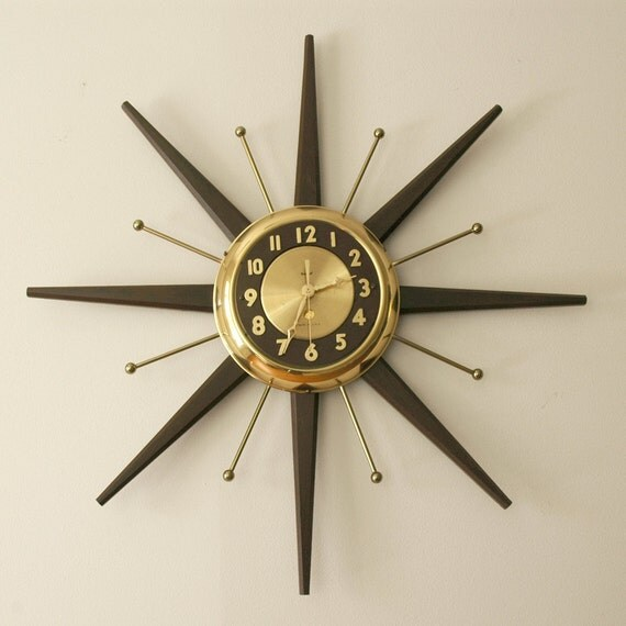 mid century modern starburst wall clock by united