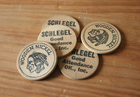 Wooden Nickels Indian Head Good Attendance - Set of 5