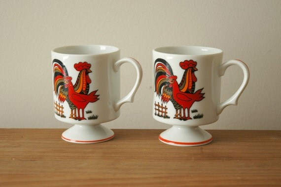 Rooster Mugs Small Footed Cups Pair Farmhouse, Chickens, Hens