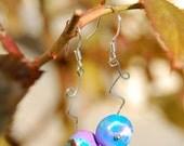 BERLIN POP - blue and purple beaded earrings in sterling silver