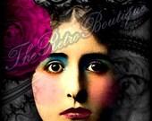 Original ATC ACEO Vintage Woman, Butterflies, Flowers,  Altered Art , Digital Collage Print Sheet, OOAK