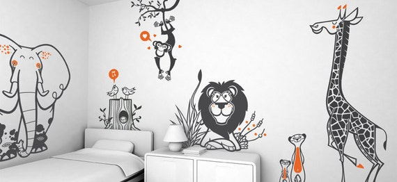 Kids Wall Decals Set - Savanna, Jungle, Safari theme (free shipping) - Pack of 4 large Children Wall Stickers for Baby Nursery or Kids Room