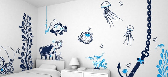 Kids Wall Decals Set - Underwater Sea World (free shipping) - Pack of 4