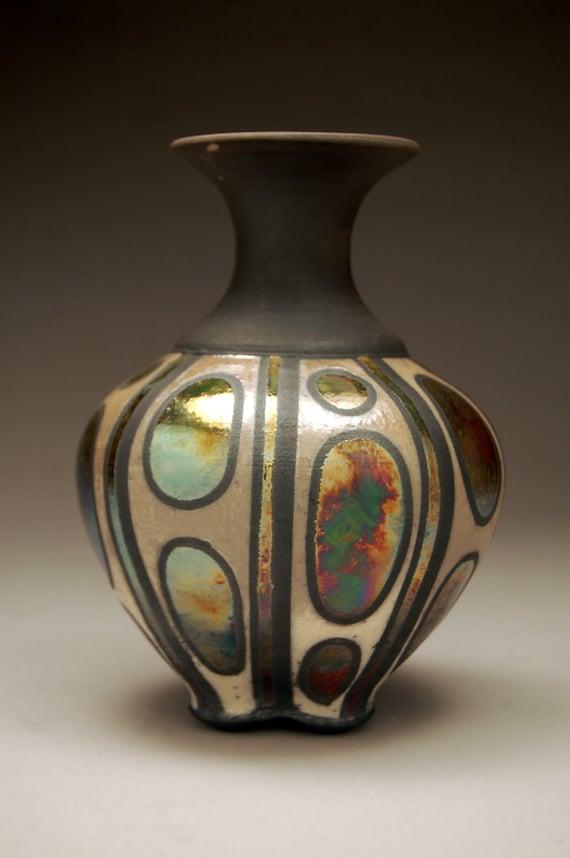 Engulfed - Metallic Raku Vase Green Gold Blue White Pattern - Art - Raku Pottery - Handmade