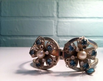 double flower glass and rhinestone hinged cuff bracelet