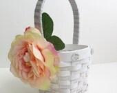 CLEARANCE - Flower Girl Basket - Wedding Flower Girl Basket - Shabby Chic Basket - White Basket - Peach/Pink Rose Basket