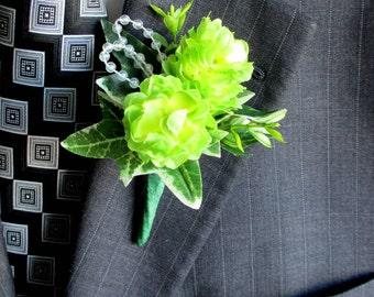 Lime Green Hops Boutonniere - Faux Boutonniere - Wedding Boutonniere - Anniversary Boutonniere - Prom Boutonniere