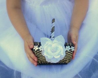 Small Flower Girl Basket - Rectangular Wedding Flower Girl Basket - Rustic Flower Girl Basket - Choose Your Flower, Choose Your Ribbon