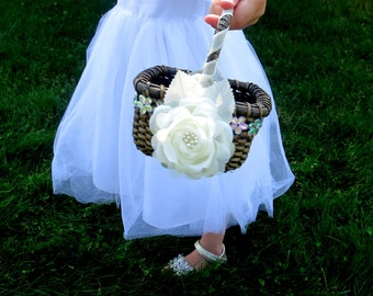 CLEARANCE - Flower Girl Basket - Square Flower Girl Basket - Rustic Flower Girl Basket - Ivory Rose Flower Girl Basket
