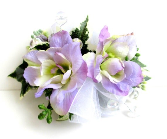 Faux Corsage - Wedding Corsage - Anniversary Corsage - Prom Corsage - Lavender Delphinium Corsage, White Ribbon - Mother's Day Corsage