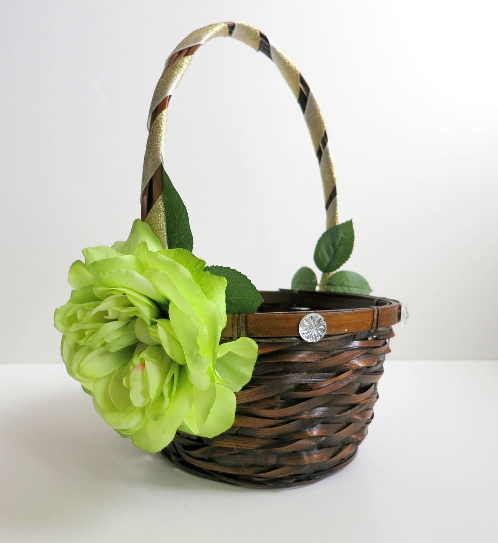 Flower Girl Baskets Green : Flower girl basket wedding lime green