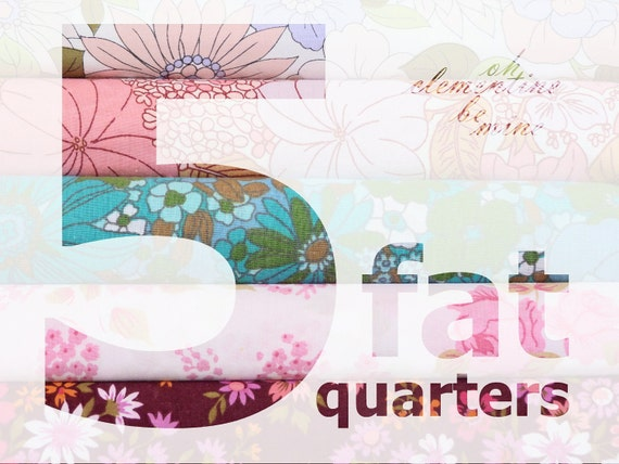 VINTAGE FLORAL FABRIC - 5 fat quarters for patchwork and craft