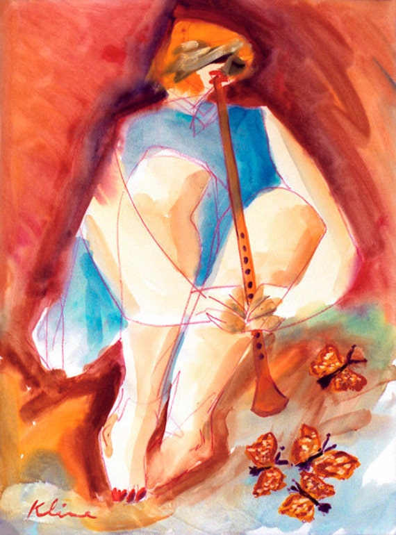 Mariposa Howard Kline art figure woman with butterfly and flute blue orange home decor decoration watercolor print
