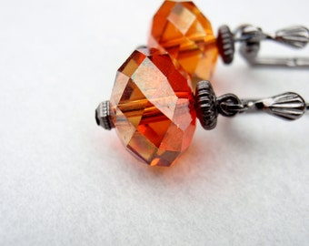 Romantic Cognac Swarovski Earrings in Gunmetal.