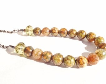 Faceted Agate in Forest Colors and Khaki Swarovski  Bead Necklace