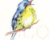 50% OFF Kirtland's Warbler  ORiGINAL mixed media painting 5x7 inch