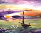 RESERVED 9x11 inch Original Sea Scape watercolor painting