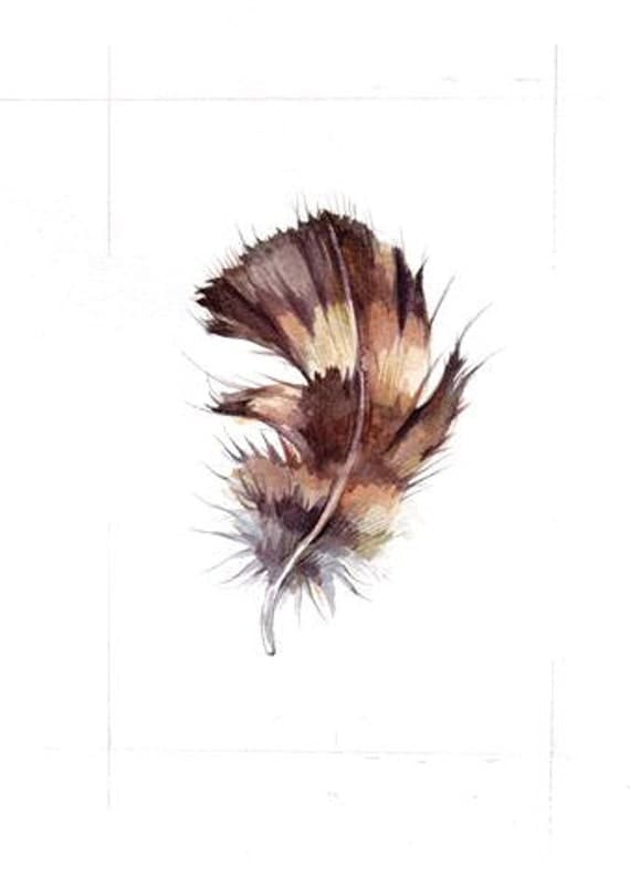 OWL FEATHER ORiGINAL WATERCOLoR painting 5x7 inch