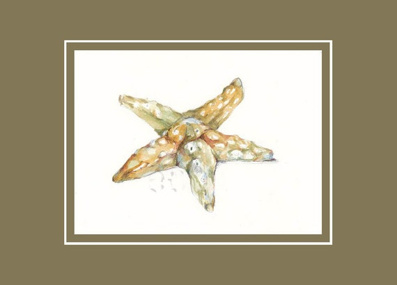 50% OFF Sea Star ORiGINAL mixed media painting 5x7 inch