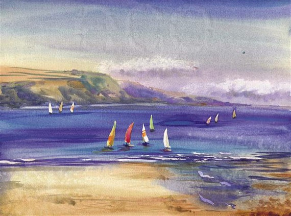 11x9 Summer SeaSCaPe Archival Print from Original Watercolor