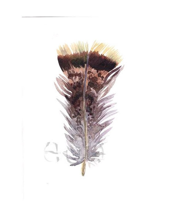 50% OFF Garden FEATHER ORiGINAL WATERCOLoR painting 5x7 inch